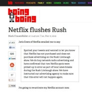 Netflix has become the target of Rush Limbaugh since announcing they won't advertise on his show.