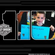 A non-violence poster by the victim of the Boston bombings, featured in a Harley Davidson image.
