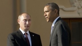 US president Barack Obama with  Russian president Vladimir Putin