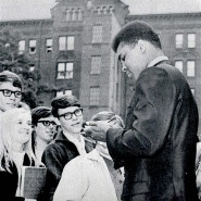 Ali with students, 1968.